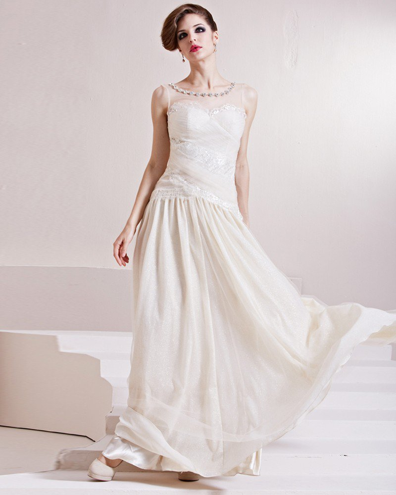 Elastic Silk Like Satin Charmeuse Beading Jewel Sleeveless Floor Length Pleated Evening Dress