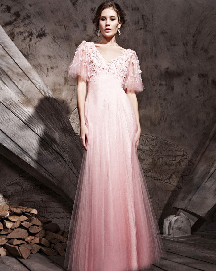 Gilbey's Satin Tulle Retro Puff Sleeve Floor Length Evening Dresses