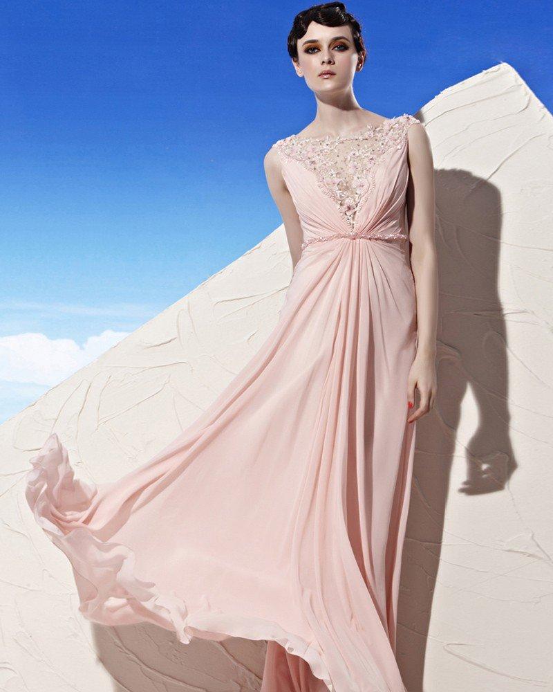 Round Neck Lace Flower Beading Floor Length Empire Tencel Woman Evening Dress