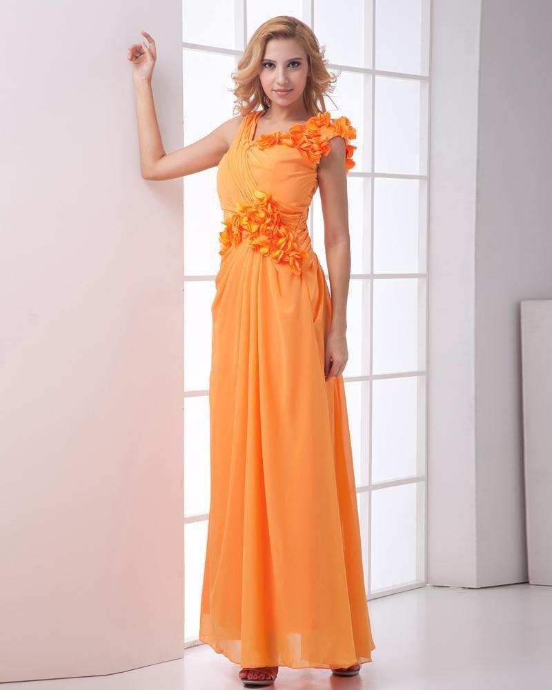 Chiffon Ruffle Oblique V Collar Flower Sleeveless Ankle Length Pleated Evening Dresses