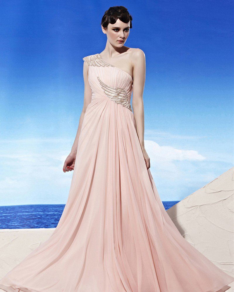 Strapless One Shoulder Wing Pattern Embroidery Beading Sleeveless Floor Length Tencel Woman Evening