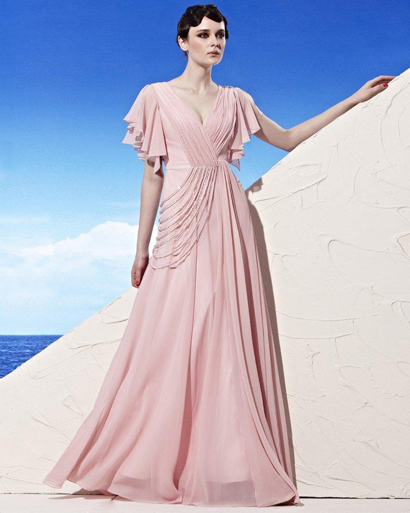 Floor Length V Neck Beading Ruffle Sleeve Empire Tencel Woman Evening Dress