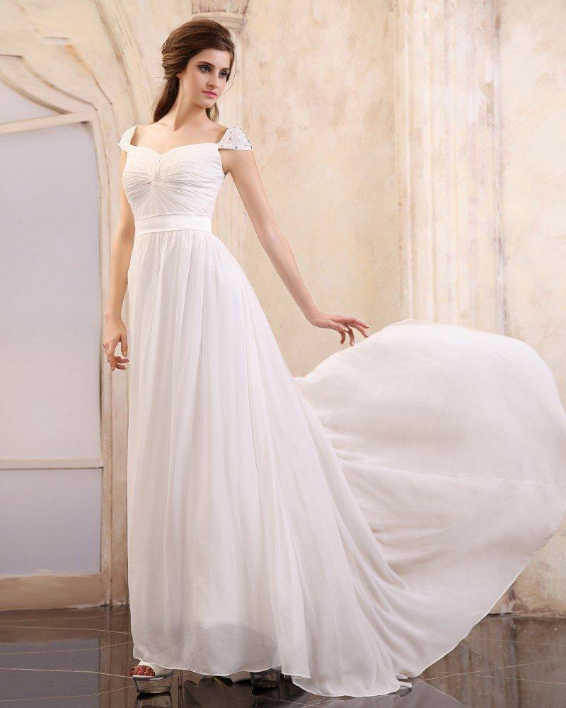 Sleeveless Chiffon Beading Ruffles V-Neck Floor Length Evening Dresses