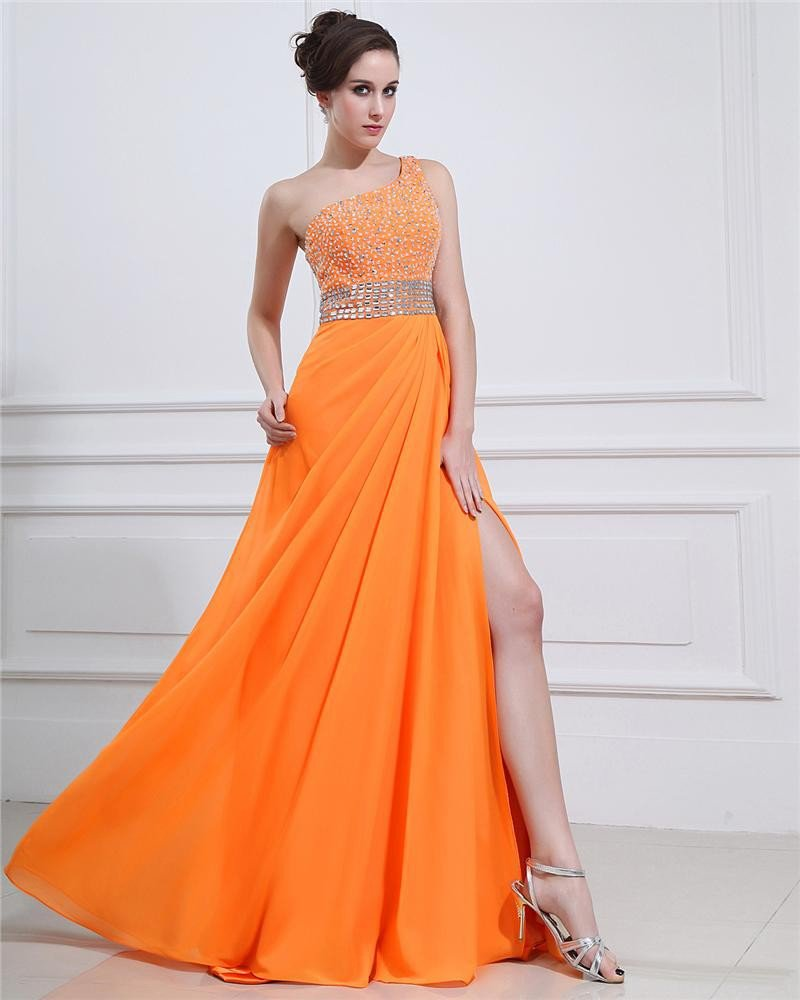 Chiffon Ruffle Applique Beading One Shoulder Floor Length Evening Dresses