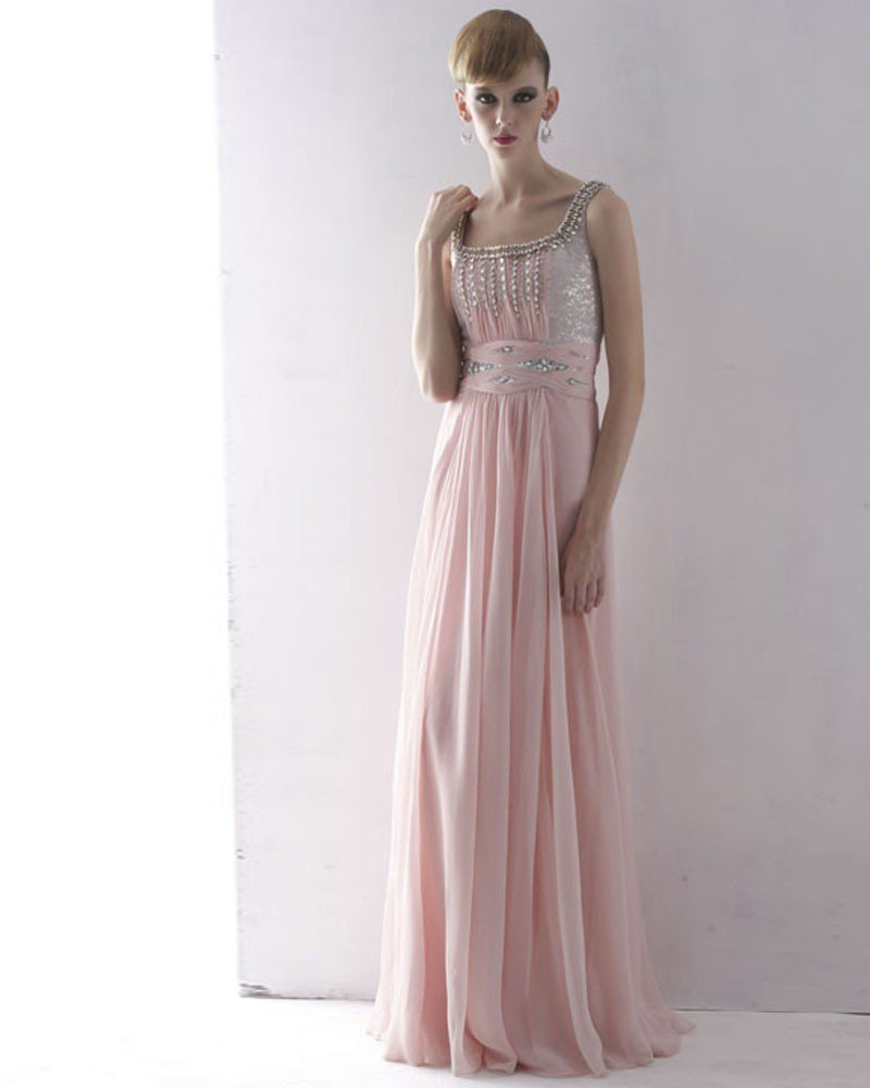 Silk Tulle Charmeuse Rhinestone Beading Square Neck Floor Length Evening Dresses