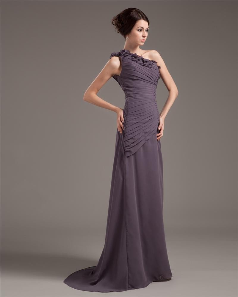 Chiffon One Shouder Ruffle Floor-Length Sheath Evening Dresses