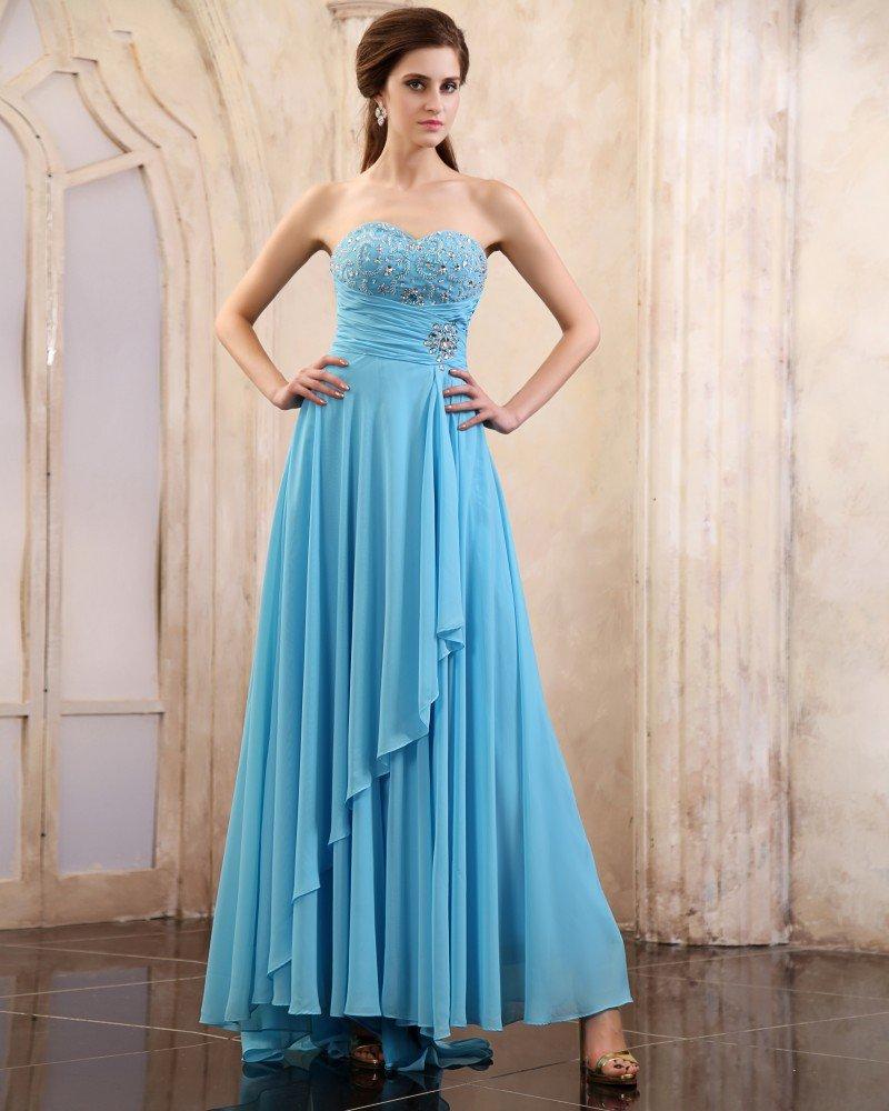 Sleeveless Chiffon Beading Ruffles Sweetheart Long Evening Dresses