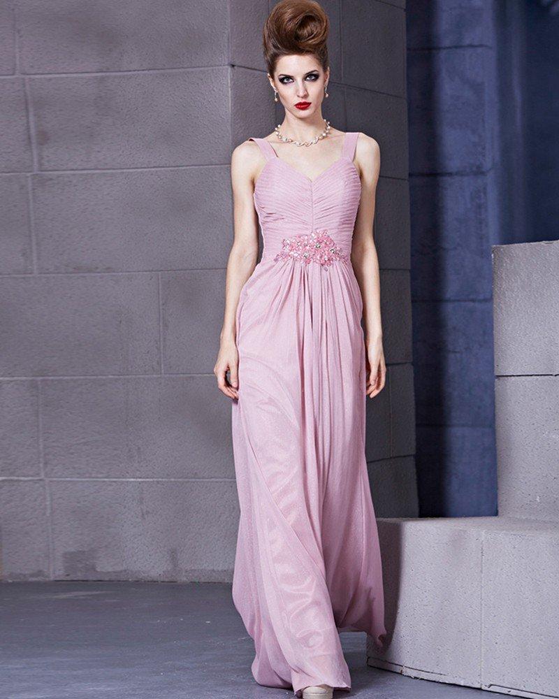 V Neck Sleeveless Floor Length Beading Charmeuse Empire Woman Evening Dress