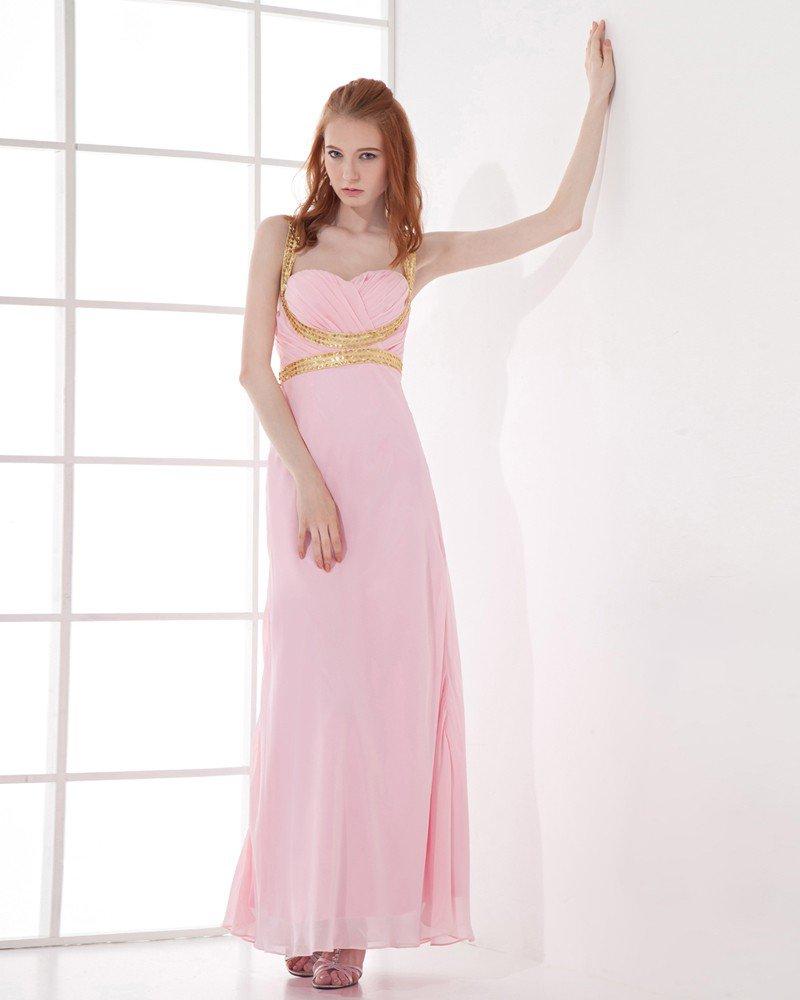 Fashion Chiffon Pleated Sweetheart Ankle Length Evening Dress