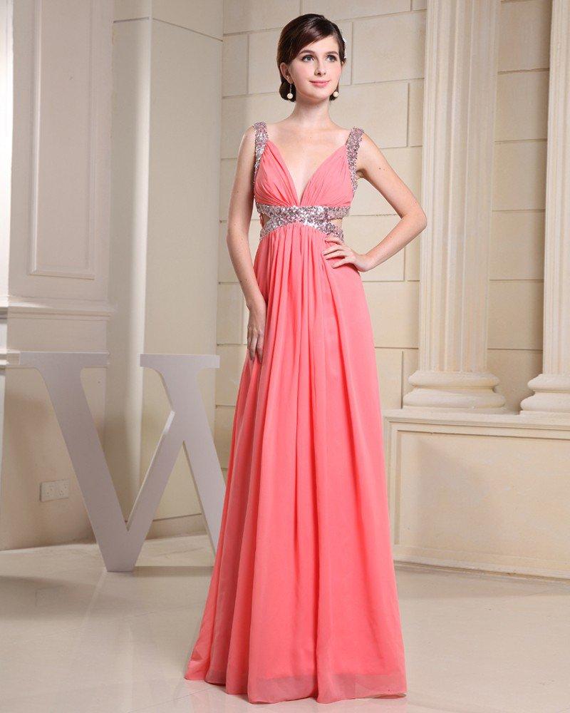 Fashion Chiffon Charmeuse Silk Paillette Straps Floor Length Sleeveless Women Evening Dress