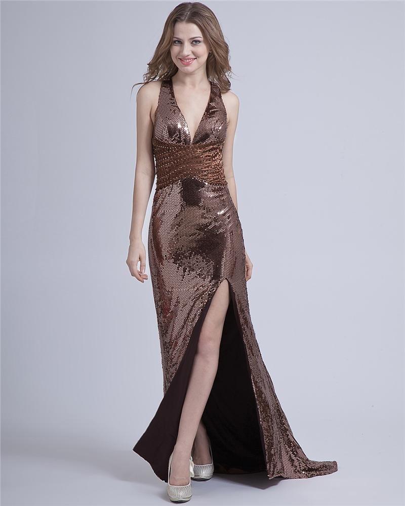 Fashion Halter Paillette Floor-Length Evening Dresses