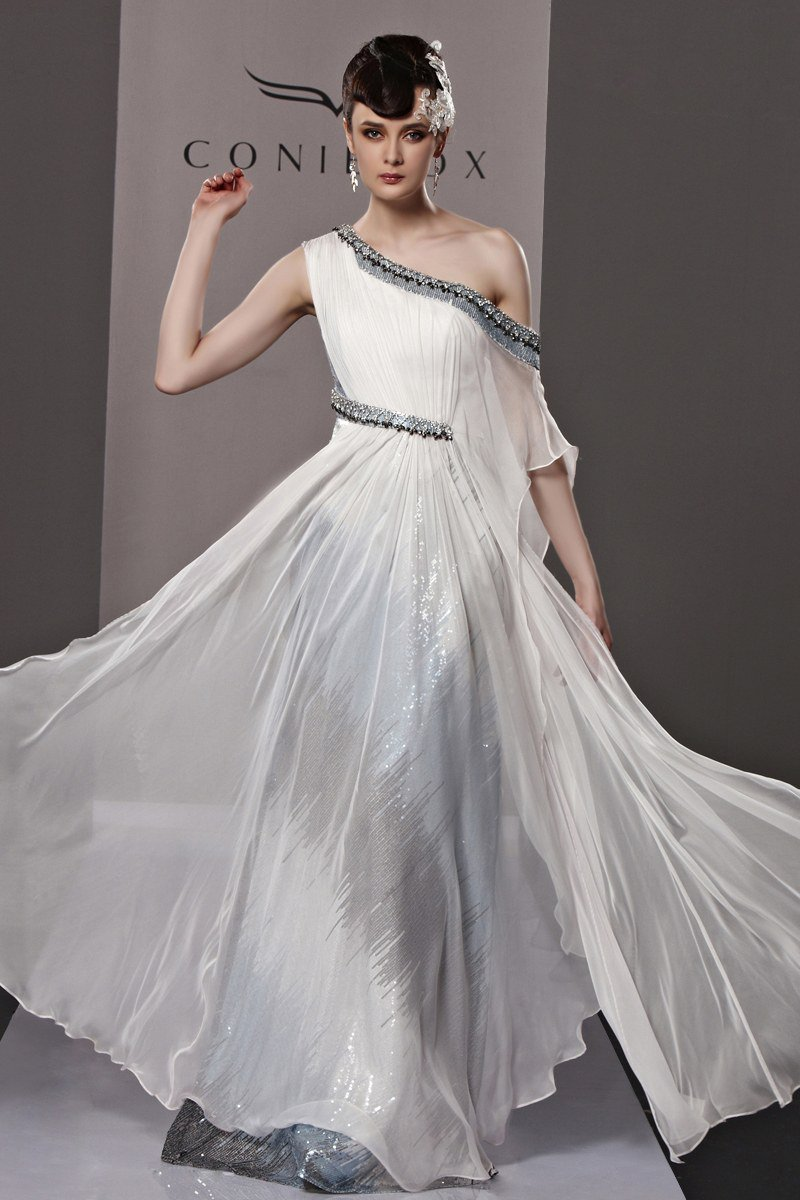 Slim Beading Sloping Floor Length Tencel Charmeuse Evening Dress