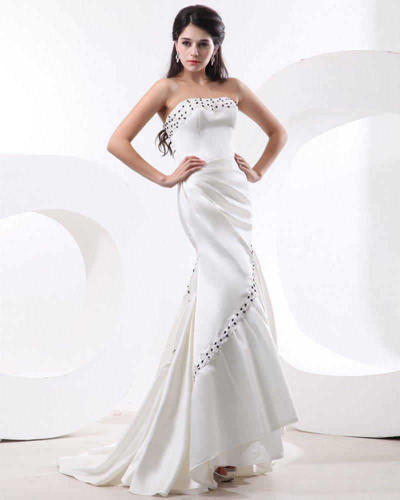 Charmeuse Strapless Ruffle Beading Floor Length Women Evening Dress