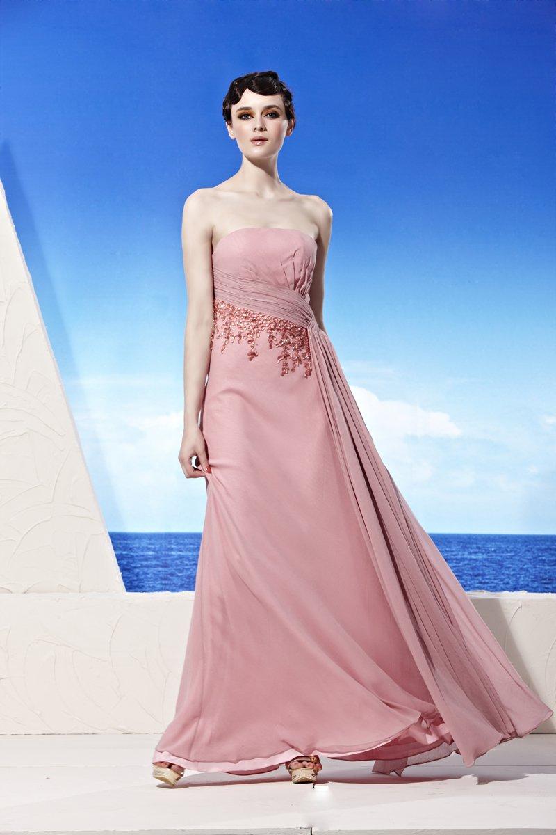 Strapless Neckline Floor Length Beading Composite Filament Empire Woman Evening Dress