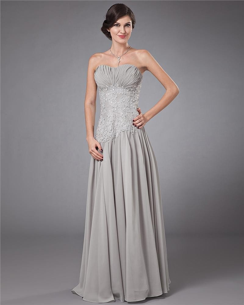 Chiffon Pleated Beading Applique Sweetheart Ankle Length Evening Dresses