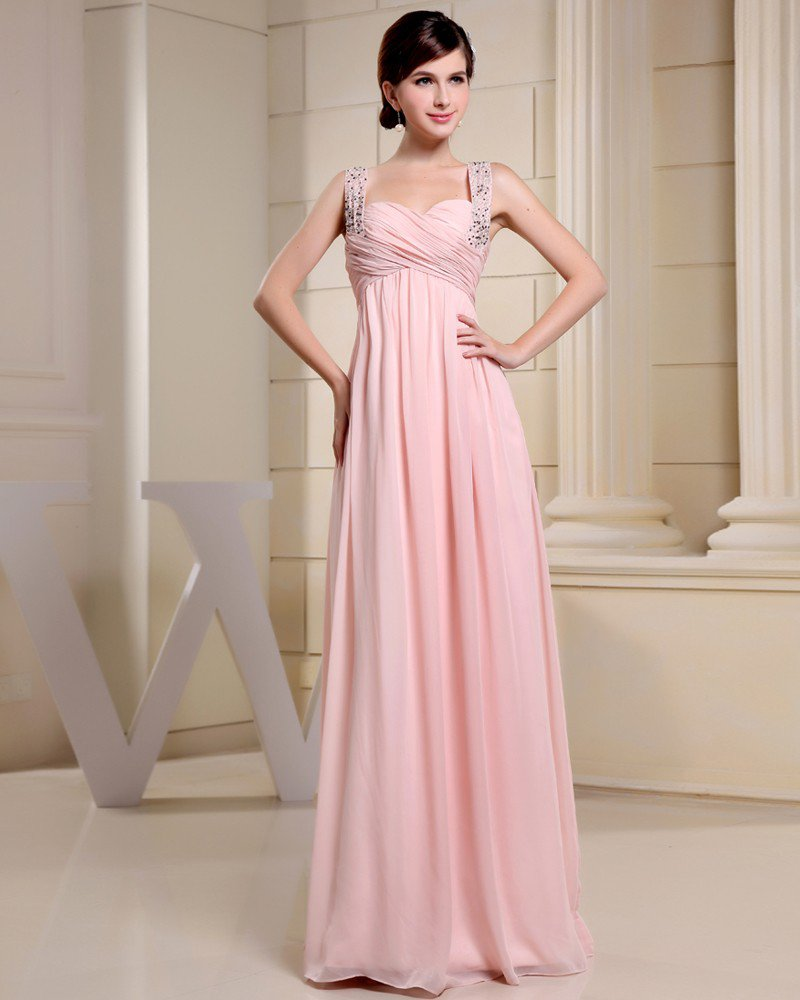 Fashion Chiffon Charmeuse Silk Pleated Beaded Straps Floor Length Sleeveless Women Evening Dress