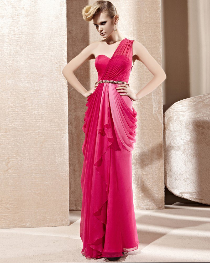 One Shoulder Sweetheart Neck Ruffle Rhinestone Belt Sleeveless Backless Floor Length Charmeuse Woman