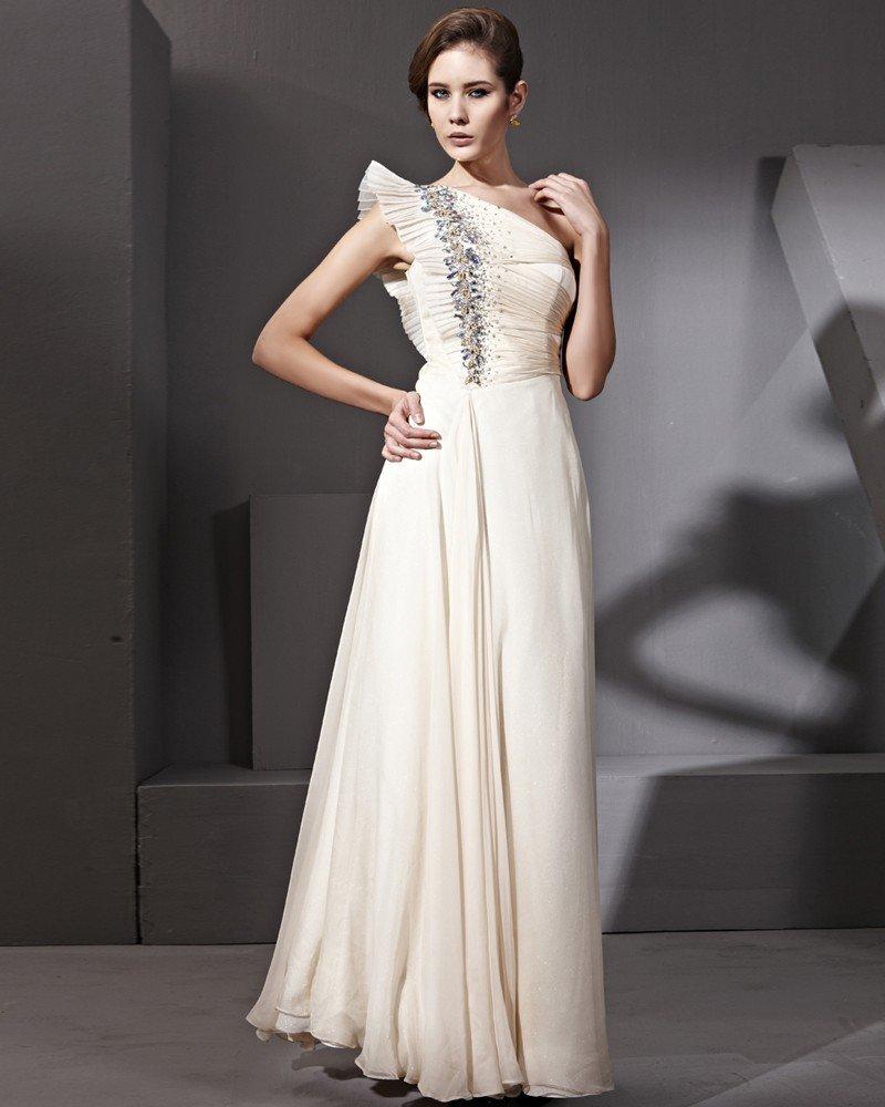 Floor Length Butterfly Sleeve Silk Chiffon Single Shoulder Evening Dresses