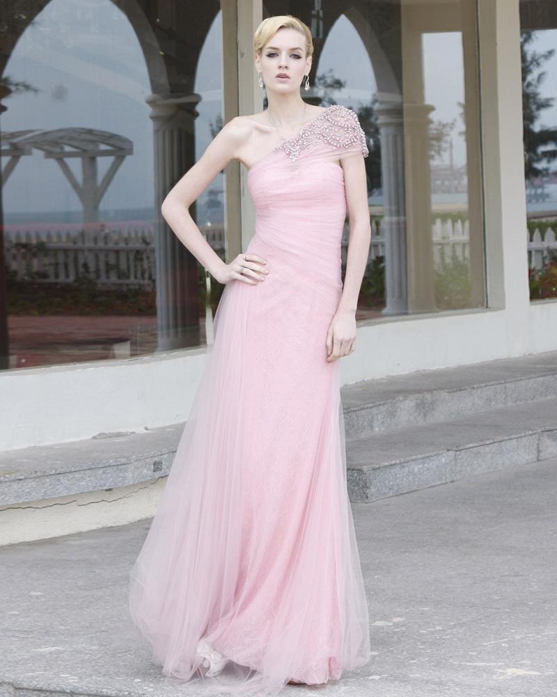 Charmeuse Mesh Lace Beaded Diamond Ruffles Sloping Floor Length Evening Dress