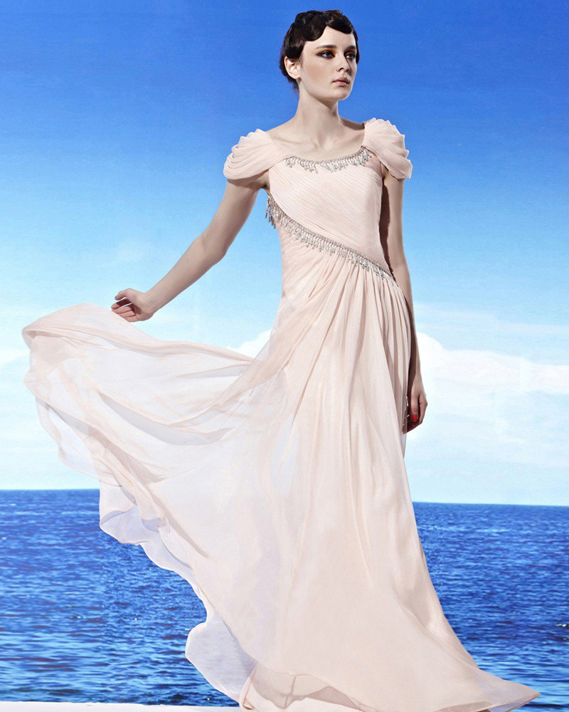 Round Neck Draped Wrap Shoulder Beading Sleeveless Floor Length Tencel Woman Evening Dresses