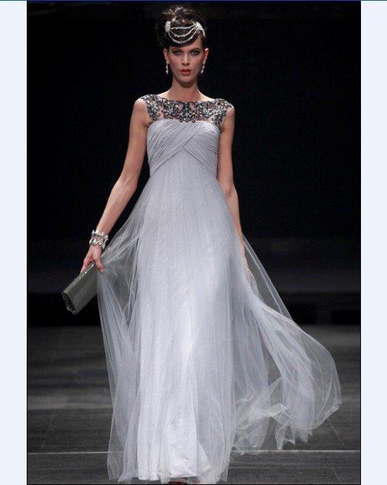 Sabrina Floor Length Composite Filament Evening Dress