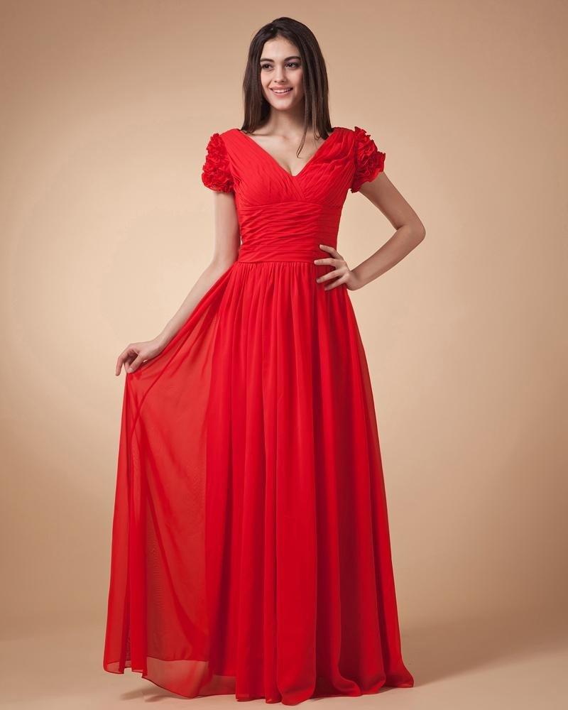 Elegant Chiffon Ruffle Beading Oblique V Collar Evening Dresses