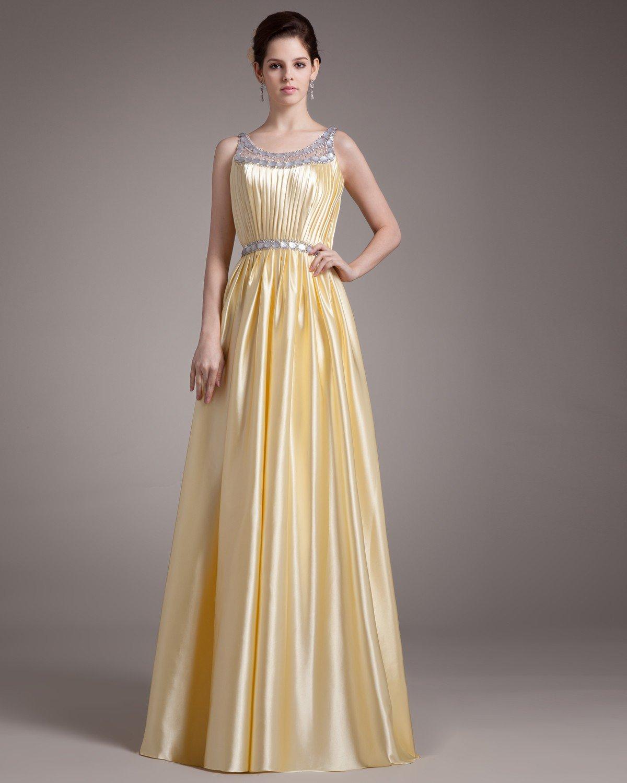 Elegant Beading Ruffles Scoop Floor Length Charmeuse Evening Dress