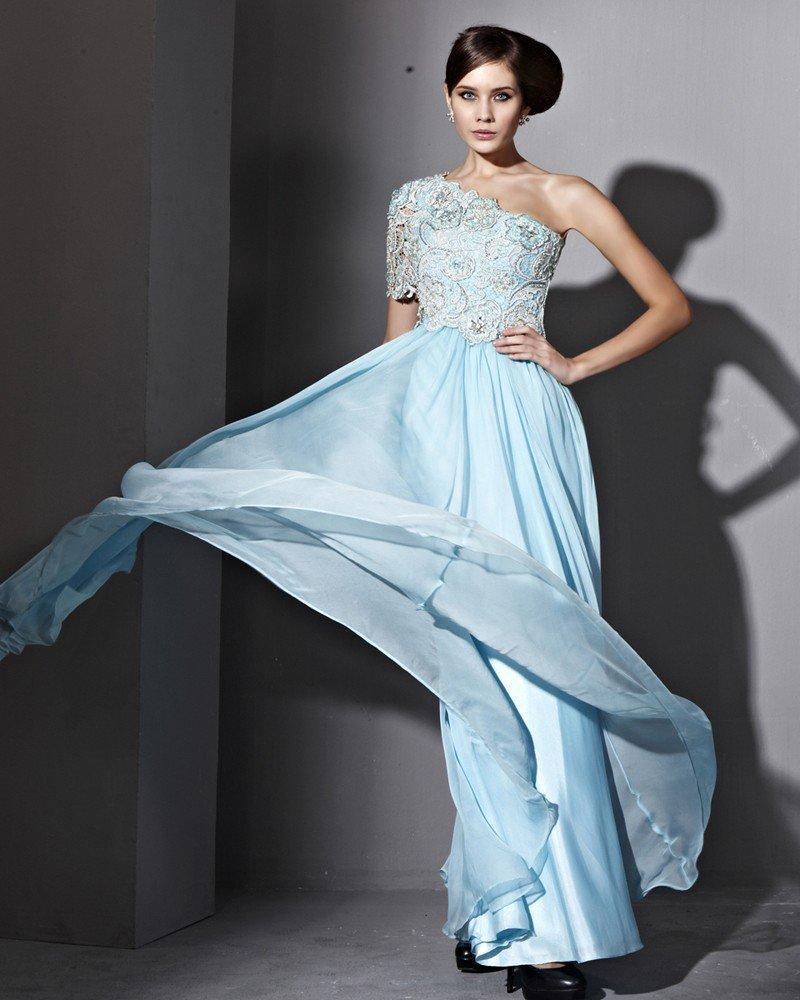 Tencel Single Shoulder Sloping Zipper Floor Length Evening Dresses