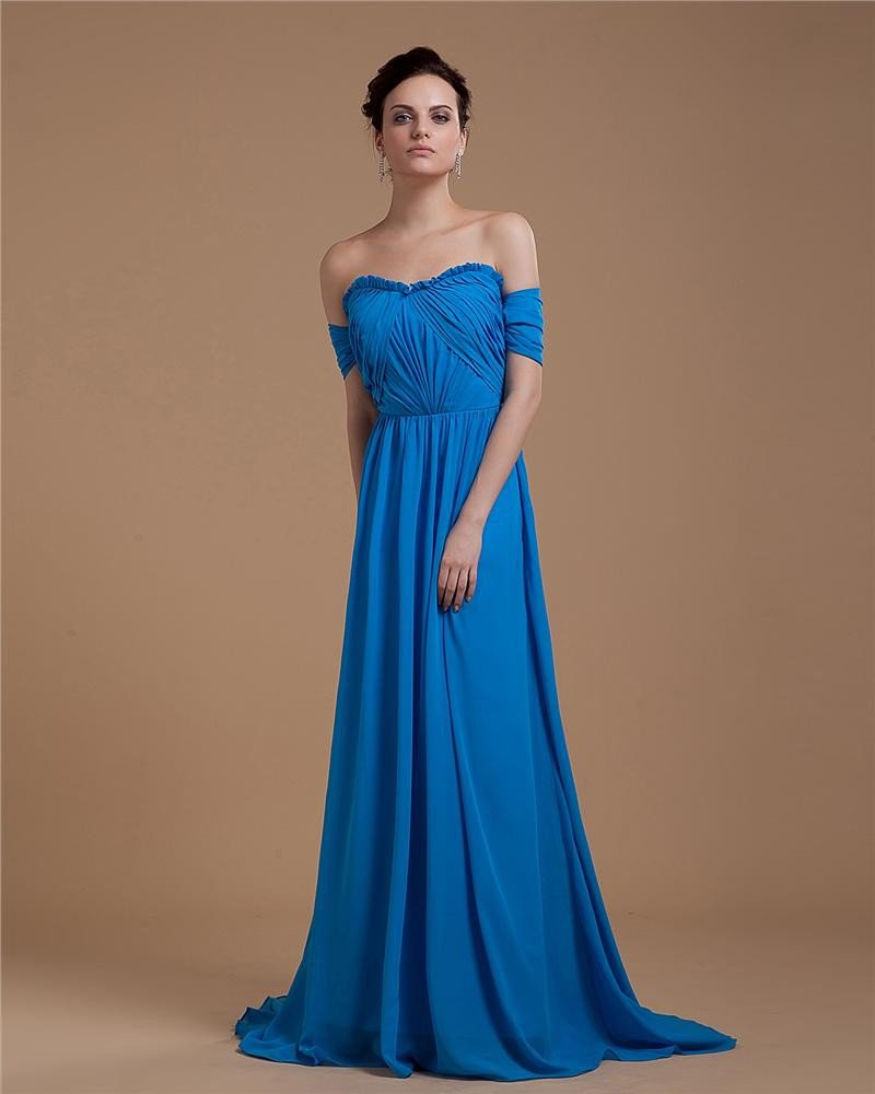 Empire Sweetheart Chapel Train Chiffon Ruffles Women's Evening Dresses