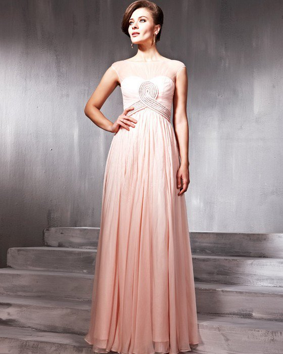 Beaded Ruffle Silk Charmeuse Tulle Jewel Floor Length Evening Dresses
