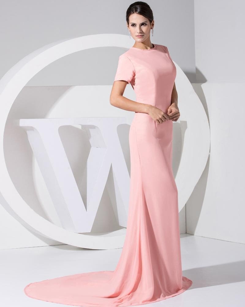 Chiffon Elastic Silk Like Satin Silk Round Collar Short Sleeve Backless Court Train Celebrity Dress