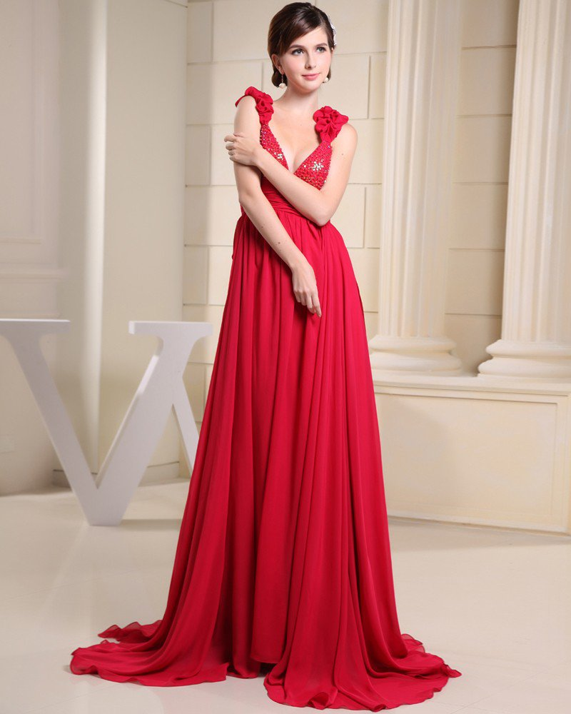 Stylish Solid Satin Chiffon Silk Spaghetti Straps Sequins Sleeveless Backless Pleated Court Train Pr
