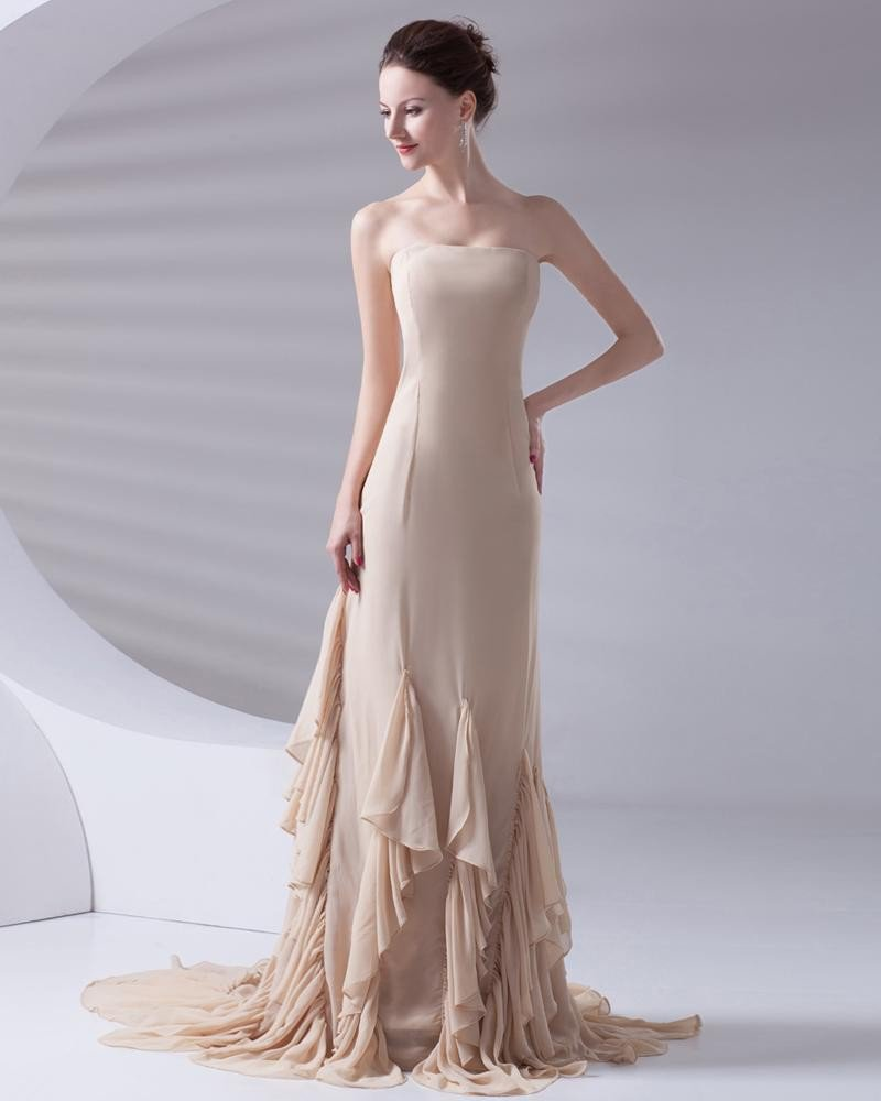 Fashion Strapless Floor Length Ruffle Chiffon Celebrity Dress