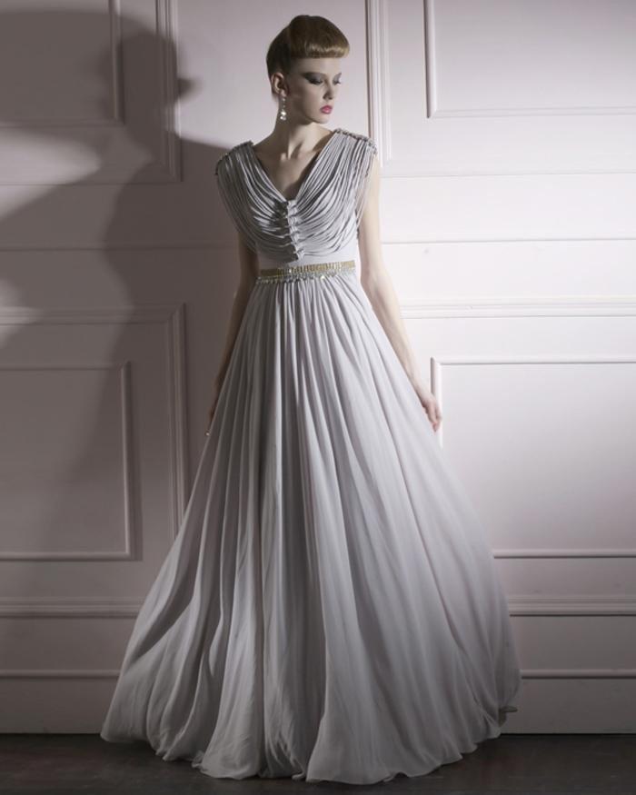 Cloth Charmeuse V-neck Neckline Bead Floor Length Evening Dress