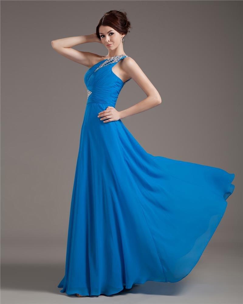 One Shening Dressesoulder Chiffon Pleated Beading Floor Length Plus Size Evening Dresses