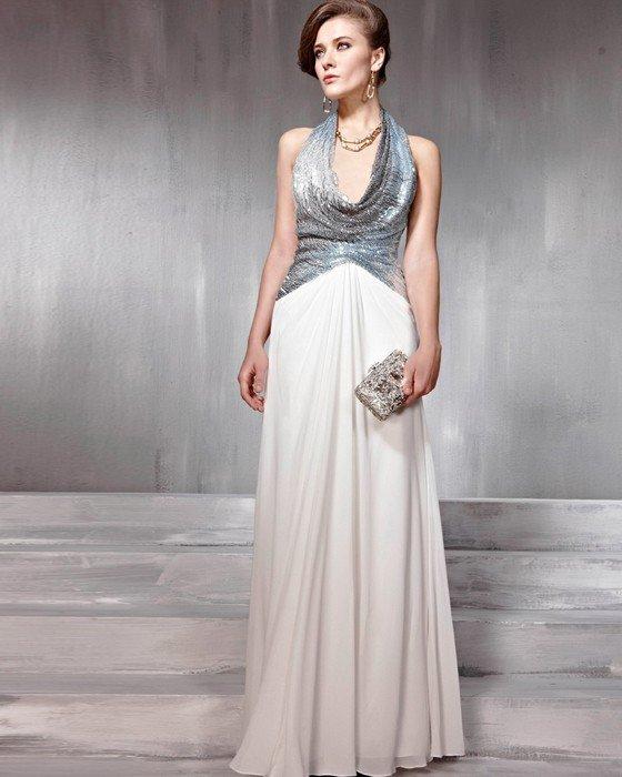 Silk Tulle Charmeuse Pleated Halter Floor Length Evening Dresses