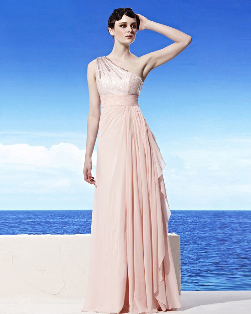 Strapless One Shoulder Beading One Side Zipper Sleeveless Floor Length Tencel Woman Evening Dresses