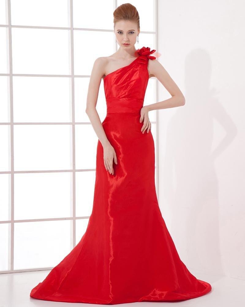 Fashion Satin Pleated Flower Sloping Floor Length Celebrity Dress