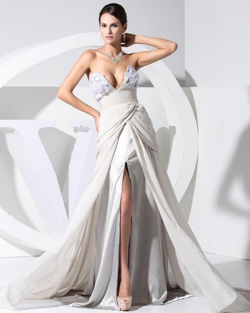 V Neck Zipper Sleeveless Applique Ruffle Chiffon Lace Elastic Silk Like Satin Silk Woman Celebrity D