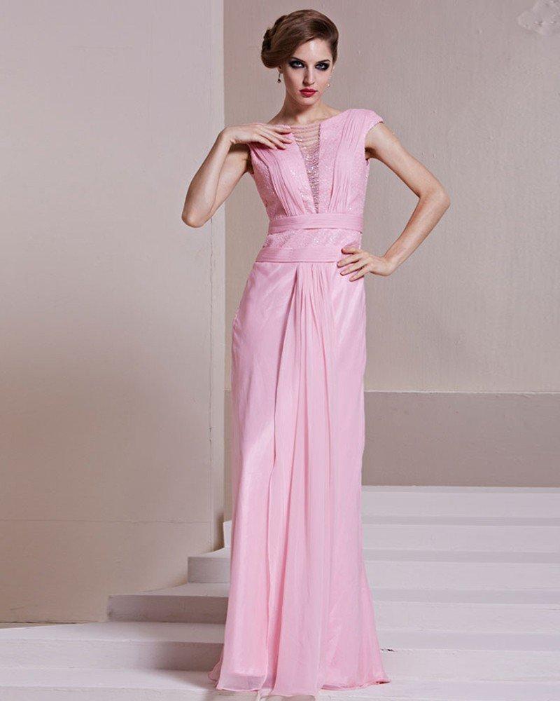 Fashion Tencel Charmeuse Gauze Beaded Boat Neck Sleeveless Floor Length Evening Dress