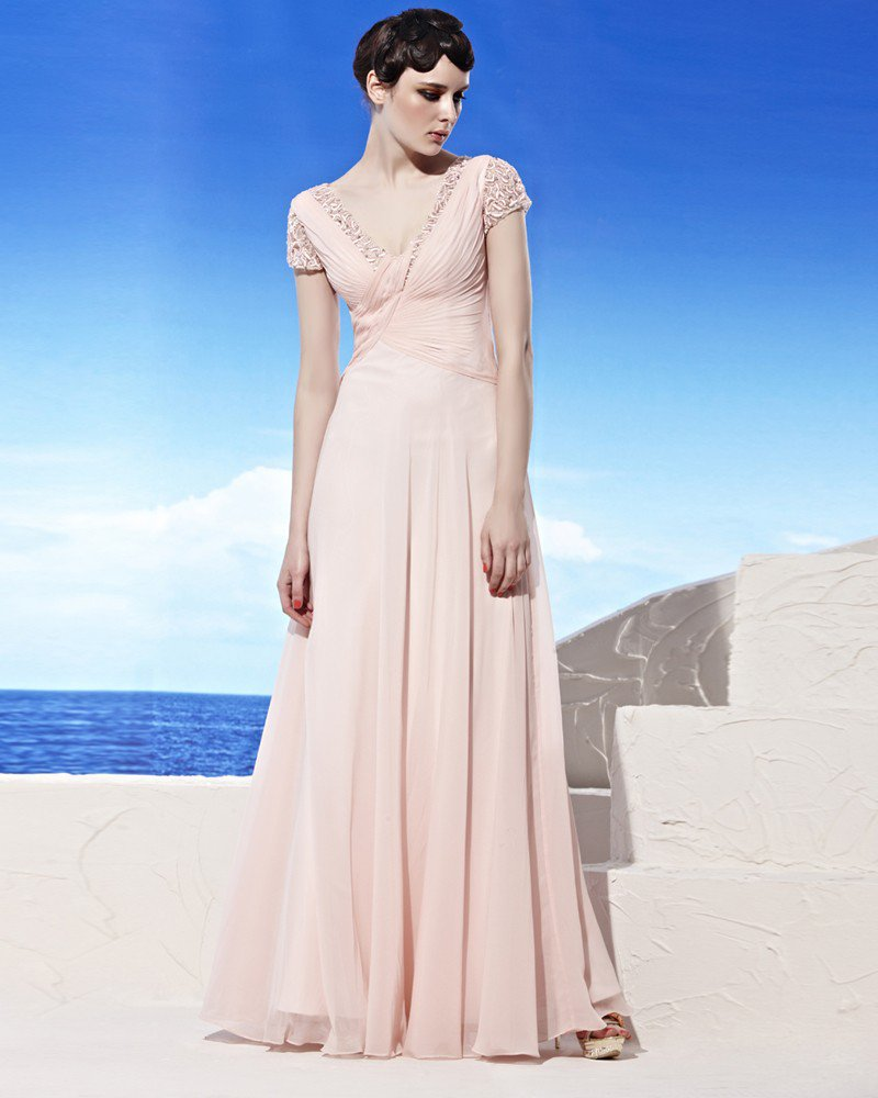 V Neck Embroidery Ruffle Short Sleeve Floor Length Tencel Woman Evening Dresses