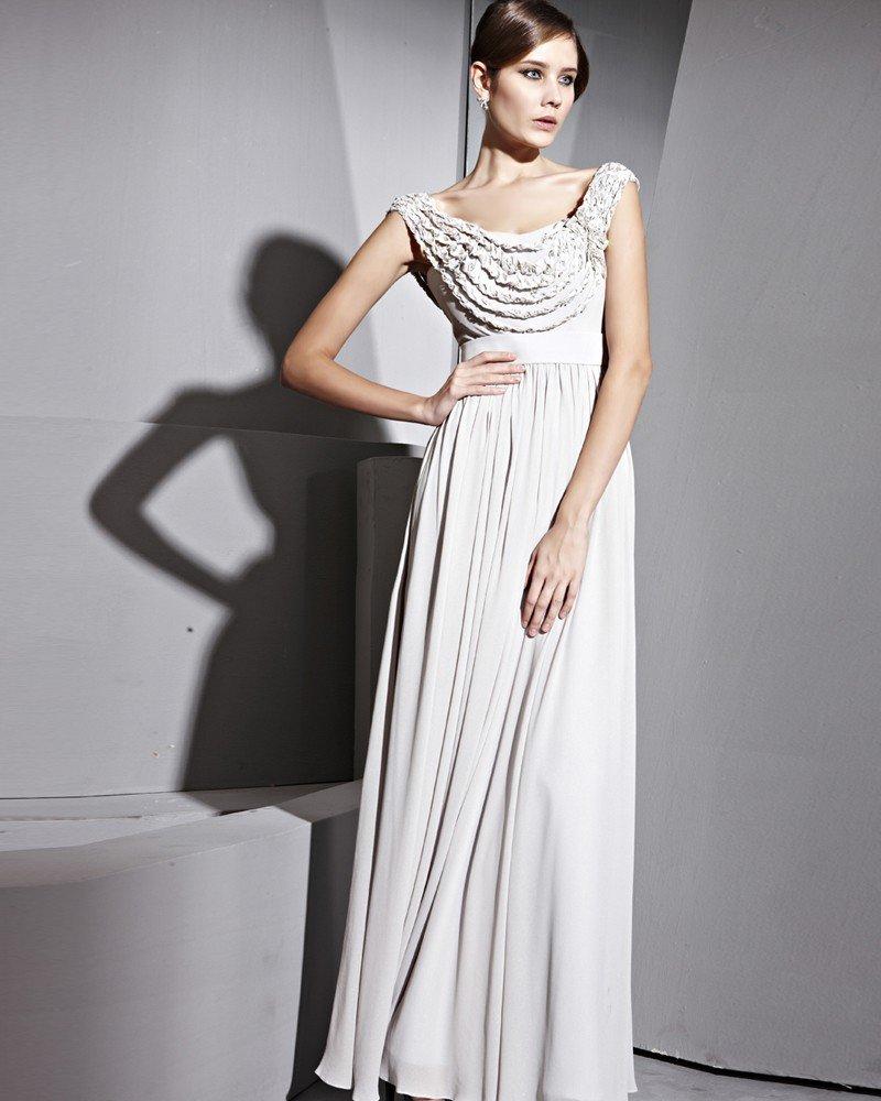 Floor Length Scoop Zipper Composite Silk Evening Dresses