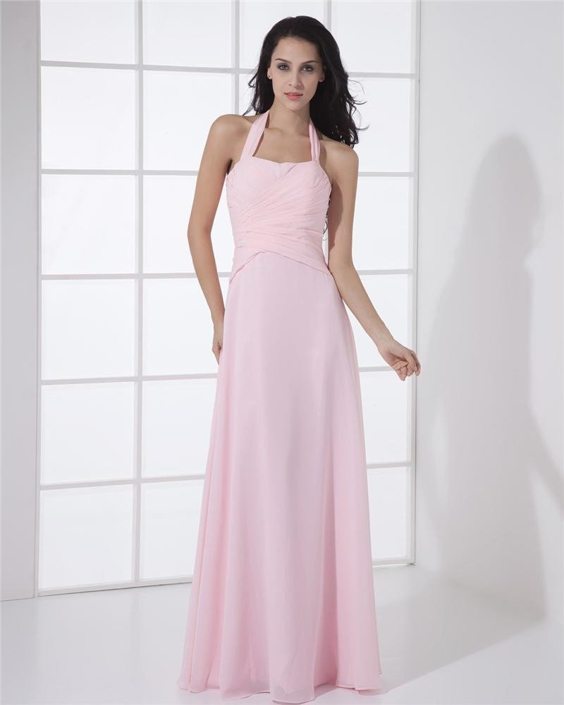 Generous Chiffon Halter Sheath Floor-Length Evening Dress