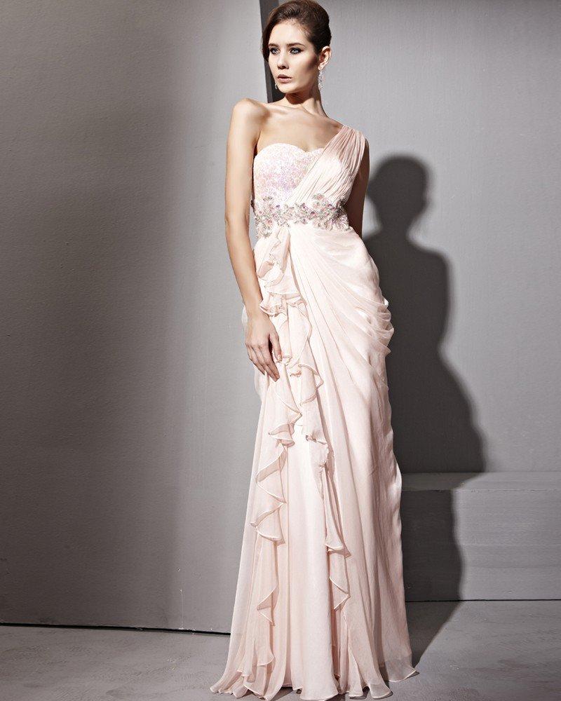 Single Shoulder Floor Length Tencel Zipper Evening Dresses