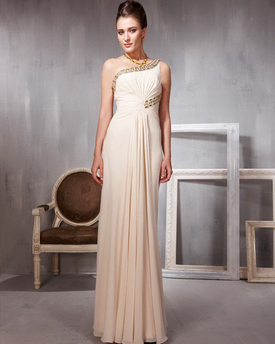 Chiffon Charmeuse Hand Flower Beading One Shoulder Floor Length Evening Dresses
