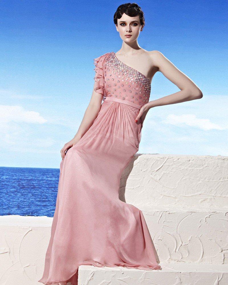 Sloping Neckline Ruffles Sleeve Beading Floor Length Tencel Empire Woman Evening Dress