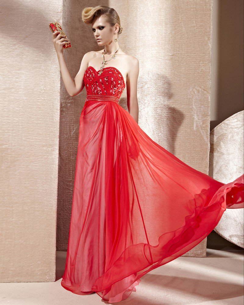 Sweetheart Neck Beading Sleeveless Backless Floor Length Charmeuse Woman Evening Dress