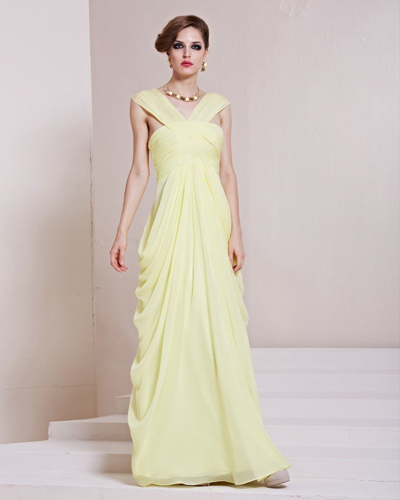 Fashion Tencel Charmeuse Pleated V Neck Floor Length Evening Dress