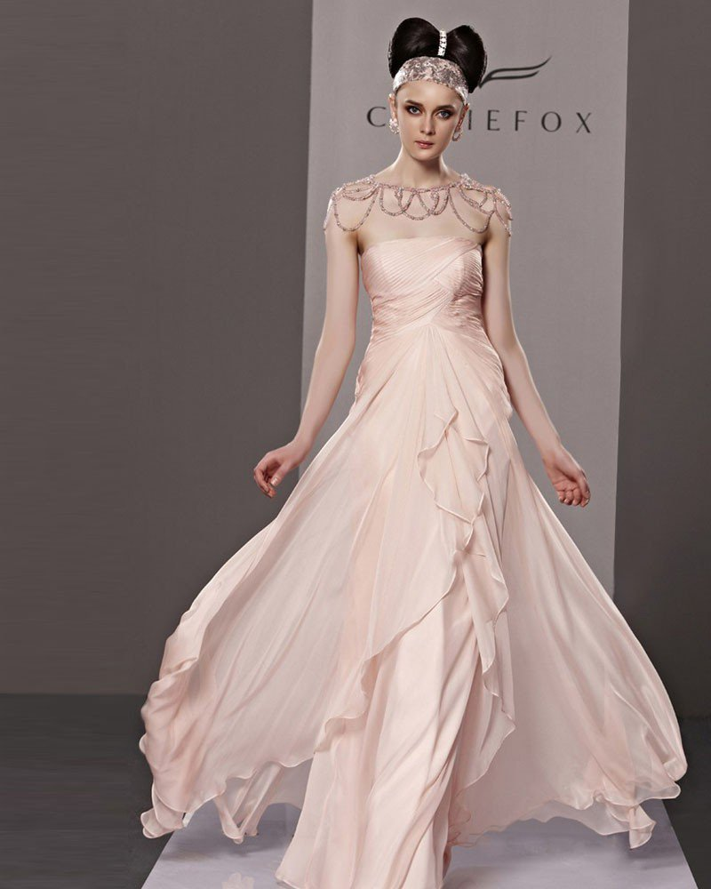 Fashion Strapless Floor Length Beading Chiffon Charmeuse Evening Dress