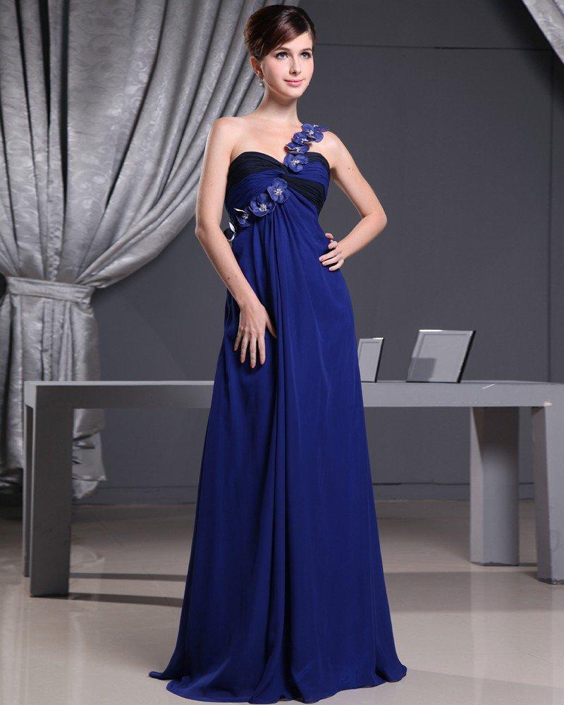 Fashion Chiffon Charmeuse Silk Applique Ruffle One Shoulder Court Train Sleeveless Women Evening Dre